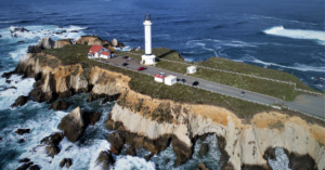 Aerial view of Point Arena Lighthouse